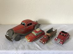 England / US Zone Germany / Japan / France - Length 13-32 cm - Lot with 4 tin cars, 1930s/50s