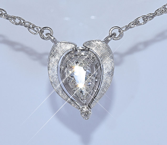 Pear Diamond, designer necklace - NO reserve price!