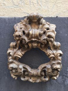 Great oeil-de-boeuf (oculus - bull's-eye) Rococo in gilt-wood - Italy or France - second half of the 18th century