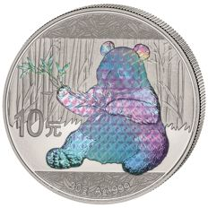 China - 10 Yuan 2017 'Panda' hologram edition - silver