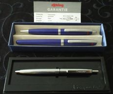 Set of Rotring Freeway pens FP M + BP blue and silver compactor in the original box.