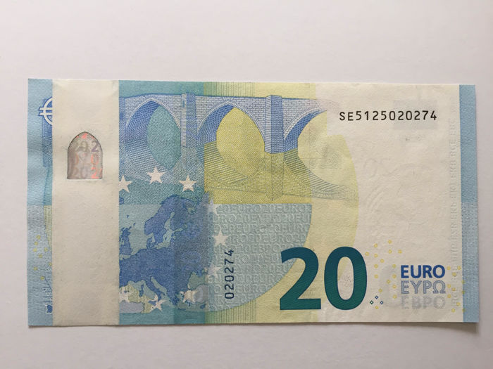 European Union - Italy - 20 euro 2015 - Draghi - ERROR note - White strip - Without hologram