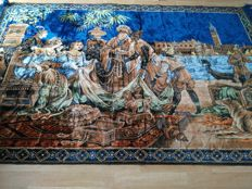 Wall tapestry, authentic vintage of Italian origin, depicting a scene of Venetian merchant