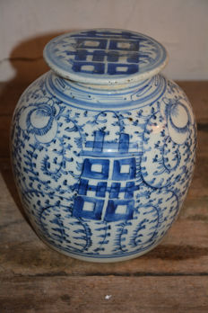 Fine blue white ginger jar with lucky symbols - China - 19th century