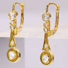 Cute 18K gold hanging earrings set with strass stones and pearls - 1940