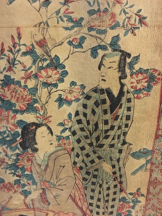 Hanging scroll on crepe paper (Chirimen chirimen) - Japan - 19th century