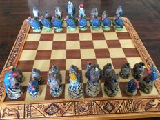 South African chess set, theme birds in Africa