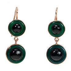 Agate, Onyx, Gold Earrings, design era: Art Deco (1915-1935), Italy