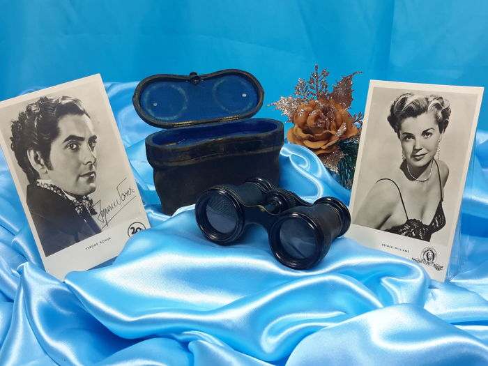 Antik and Rare Opera Binoculars with Blue Case, 1920's and Pictures