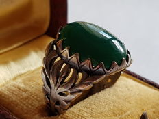 Men's ring made of silver with jade cabochon cut, second half of the 20th century, handmade