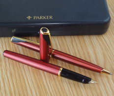 Parker Inflection GT Sunny Red fountain & ballpoint pen SET - very nice !