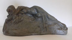 Art Nouveau plaster figurine - reclining nude - signed G.Crinique