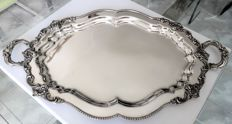 Large and solid silver plated serving tray, oval, scalloped edges and richly finished handles