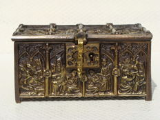 Bronze jewellery box with biblical scene - France - c. 1900