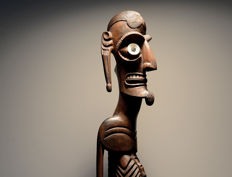an expressive MOAI KAVAKAVA sculpture - RAPA NUI / Easter Islands