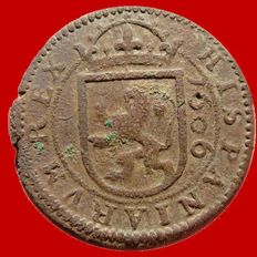Spain - House of Habsburg: Felipe III (1598-1621), Bronze 8 maravedis coin (5.80 g - 27 mm), Segovia 1606.