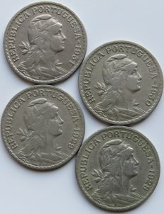 Portugal – Republic –  1$00 – 1928 – 1929 – 1930 – 1931  – (4 Coins) – Consecutive Dates