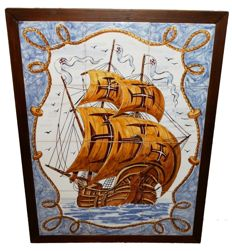 Large tile panel with ship - signed