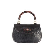 Gucci - Vintage Black Crocodile leather Bamboo Bag Top Handle - Collector's Item