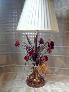 Table lamp with wrought iron roses - produced in the 1980s
