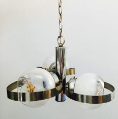 Unknown designer - vintage hanging light - chrome-plated metal, 3 glass globes