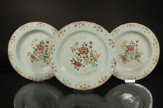 Three famille rose plates - China - 18th century