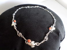 Danish antique (approx. 1900) silver necklace with red coral, Art Deco style with leaves.