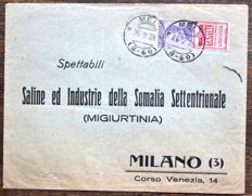 "Italy, Kingdom, 1924/1925 - 50 cent. purple and red. ""Tantal"", advertising stamp on envelope from Mel to Milan - Sass. no. 18"