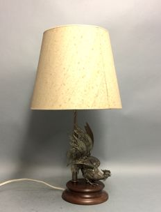 Table lamp with silver plated Gamecock as base, Italy, mid 20th century