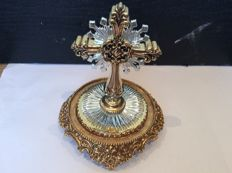Franklin mint star of hope jewelled cross with bell glass, second half 20th century