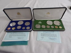 Barbados and Guyana - Various values - 1980 - 2 proofsets of which 4x silver