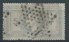 France, 1867 - 5 franc, violet grey - Yvert no. 33