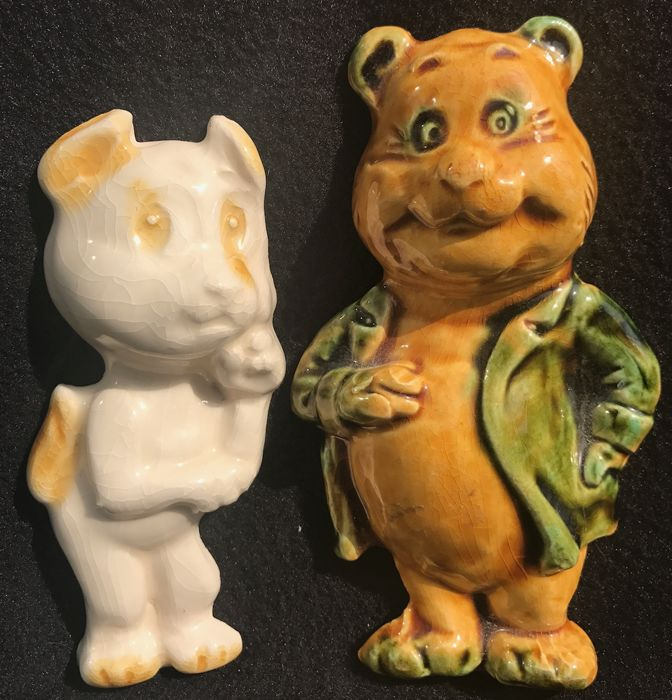 Tom Poes & Heer Ollie B. Bommel - complete set of two old earthenware figurines - (1968)