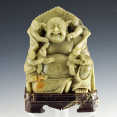 Hand carved Celadon soapstone laughing Buddha with children - China - first half 20th century