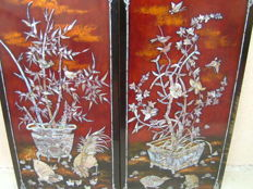 Two lacquered panels - Vietnam - 2nd half of the 20th century