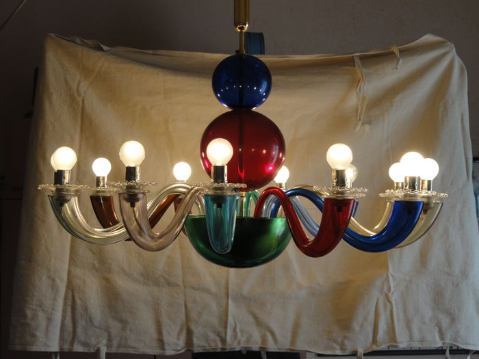 Lampadario Gio Ponti Venini.Gio Ponti For Venini 12 Light Chandelier Catawiki