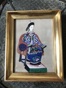 Antique hand painted Through the grass picture - China - 19th century