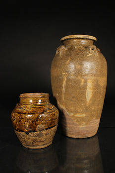 Two brown glazed martabans - China - 18th/19th century