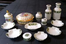 Porcelain de Limoges trinket box decorated with flowers & Porcelaine de Paris set consisting of bowls, bottles and jars