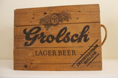 Old wooden export chest for Grolsch beautifully decorated.