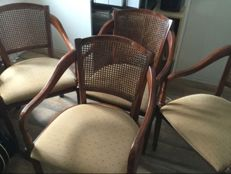 4 x English oak Chairs with wicker seat back, 20th century