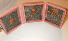 Russian Triptych with Silver Riza   -