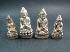 A collection of 4 Phra Kring silver plated amulets - Thailand - 1975 and later.