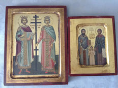 2  copies of ancient byzantine icons worked on wood with  golden  leaf /Greece 20th century