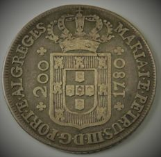 "Portugal – Monarchy – D. Maria I & D. Pedro III – 12 Vintens (240 Réis) – 1780 – High Crown – ""Reges / Vicentis"" – Silver"