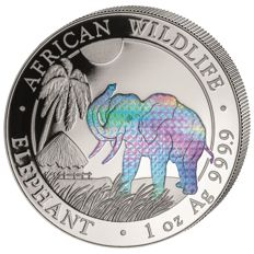Somalia – 100 Shillings 2017 'Elephant' Hologram Edition – 1 oz silver