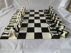 Old chess set made of matchboxes.