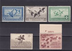 United States 1934/42 - Hunting permit stamps - a selection