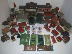 Scenery H0-155-piece package with cottages, stations, trees, figures and others