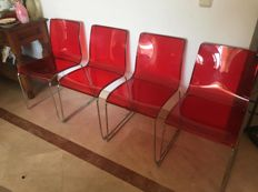 Calligaris - Set Of 4 Red Irony Chairs CS/1098-P